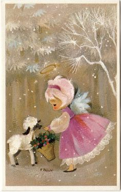 Vintage Greeting Card Christmas Angel Pink Hair Glitter Lamb Hallmark a549