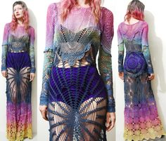 Right brained. I make clothing from vintage lace, crochet, velvet, tapestries, anything vintage. I also have a huge vintage clothing collection which i am slowly. Vintage Crochet Dresses, Vintage Lace, Dress Vintage, Clothing Patterns, Dress Patterns, Mode Boho, Gypsy, Long Sleeve Maxi, Crochet Fashion