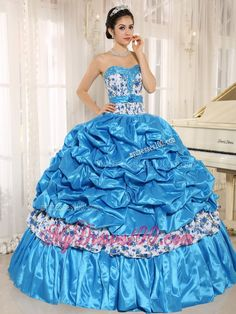 016f6226598 Aqua Blue Beaded Quinceanera Dress with Pick-ups and Printing Cheap Blue  Dresses