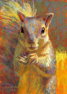 """Muncher"" by Rita Kirkman - 7x5 Pastel - Her use of color is incredible!"
