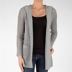 It's Our Time Juniors Pointelle Knit Hooded Cardigan #VonMaur #It'sOurTime #Cardigan