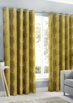 Fusion Delta Eyelet Curtains – Ochre – Matalan