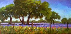 A original oil of the Texas spring outburst of Bluebonnets and other wildflowers. The Live Oak trees are everywhere with their magnificent shapes and twisty limbs. Still Life Artists, Live Oak Trees, Silver Creek, Sell My Art, Colorful Trees, Tree Leaves, Blue Bonnets, Landscape Art, Wild Flowers