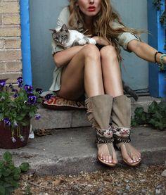 Charcoal Alley - Paris Gerrad wear Layer Boots, Native Layer Sandal, boho sandals