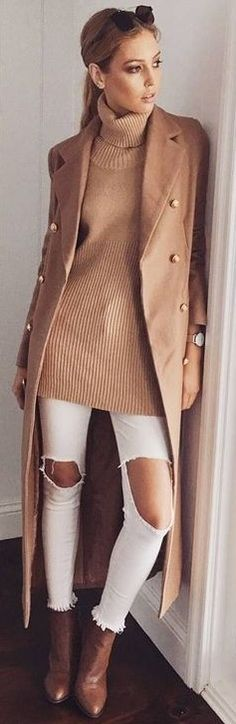 #prefall #muraboutique #outfitideas | Camel + White Combo OOTD