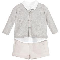 Tartine et Chocolat - Baby Boys Grey Linen 3 Piece Shorts Set |