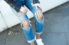 ripped Jeans und strumpfhose
