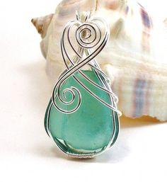 Blue Green Sea Glass Pendant RESERVED for Pamela Butler