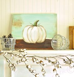 Jennifer Rizzo: You can paint a pumpkin canvas, art skills not required! Step by step instructions! Canvas Painting Projects, Acrylic Painting Tutorials, Diy Canvas, Diy Painting, Art Projects, Canvas Art, Fall Canvas, Canvas Ideas, Canvas Paintings