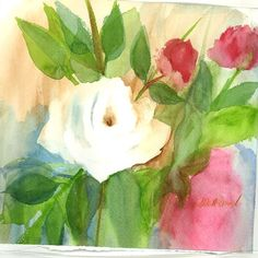 white rose by watercolorstory on Etsy, $36.00