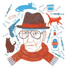 William Burroughs by Genevieve DF Simms, friend of Raymond Biesinger.