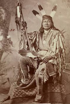 Chief Son Of The Star. Arikara. North Dakota. 1879. Photo by J.N. Choate.