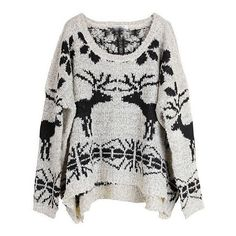 Beige Long Sleeve Deer Snowflake Print Sweater ($62) ❤ liked on Polyvore