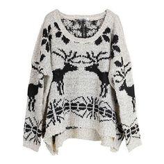 Beige Long Sleeve Deer Snowflake Print Sweater ($62) ❤ liked on Polyvore