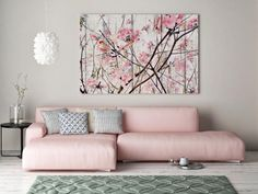 Here& The Spring, Pink Blooming Tree, Landscape Art, Shabby Chic Spring Tree Canvas Art, Cottage Chic Canvas Art Print up to Tree Canvas, Canvas Wall Art, Wall Art Prints, Botanical Wall Art, Floral Wall Art, Shabby Chic Art, Blooming Trees, Large Canvas Prints, Spring Tree