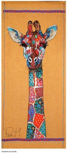 Giraffe by Pam Holland Laura Heine, Figurative Kunst, Giraffe Art, Giraffe Painting, Animal Quilts, Fabric Art, Textile Art, Collage Art, Fiber Art