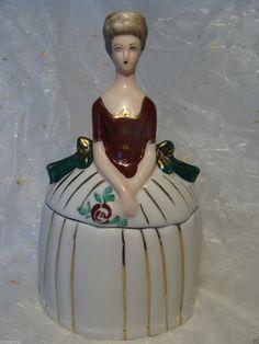 Lady Figural Powder Trinket Box Pot Jar German Japan France Half Doll Rel | eBay