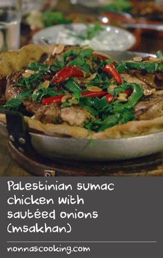 "Palestinian sumac chicken with sautéed onions (msakhan) | ""Bread is so important in the cooking of the Middle East and there are breads that are particular for breakfast, lunch and dinner. The bakers in Amman come from the many countries that surround Jordan, and many are refugees, but bread is a reminder of who you are and where you are from. This recipe is based on a bread called taboun from Palestine: chicken spiced with cinnamon, nutmeg and sumac is placed on lightly caramelised onions…"