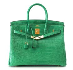 Hermes Birkin Bag 35 Matte Alligator Cactus Gold Hardware #hermes