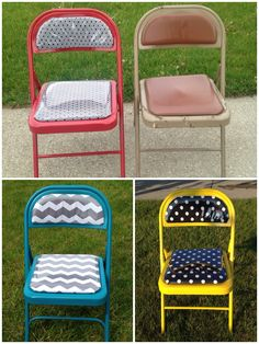 Update your old folding chairs with some new covers and some spray paint.