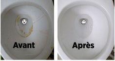 Voici comment avoir des toilettes luisantes sans effort. Tout ce que vous avez à faire, c'est de verser un paquet entier de bicarbonate de soude à l'intérieur de votre cuvette et de laisser agir aussi longtemps que possible. Il est d'ailleurs recommandé de le laisser agir toute une nuit pour un résultat optimal. Le lendemain matin, rincez votre cuvette en activant la chasse d'eau plusieurs fois.
