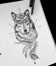 Ideas Tattoo Wolf Girl Nature For 2019 Wolf Girl Tattoos, Wolf Tattoos For Women, Sleeve Tattoos For Women, Tattoos For Guys, Wolf Tattoo Design, Feather Tattoos, Leg Tattoos, Tattoo Thigh, Circle Tattoos