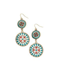 Look at this #zulilyfind! Turquoise & Coral Inlay Medallion Drop Earrings #zulilyfinds