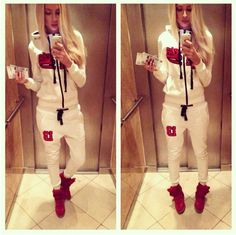 2015 New Ladies Hoodies Pullover Sweatshirt +Pant Jogging Sports Suits For Women Two Piece Set Tracksuits clothing chandal mujer Dope Style, Sporty Style, My Style, Tomboy Style, Sporty Chic, Nike Outfits, Swag Outfits, Fashion Outfits, Sporty Outfits
