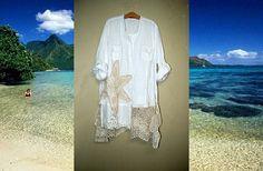 Starfish Linen Tunic Beach Dress 1x 2x White Beige by DivineRagz, $150.00