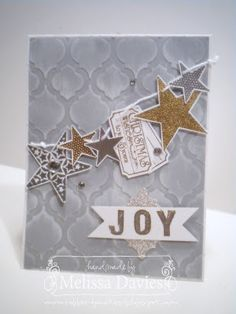 Lots happening in Melissa's card! Sets used are Simply Stars, That's the Ticket, and both Sketch & Outline Alphabets.