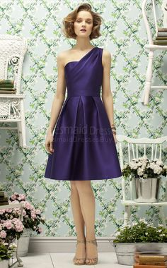 A-line Sleeveless One Shoulder Regency Satin Knee-length Purple Bridesmaid Dress