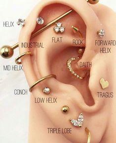 Ear Piercings Chart, Pretty Ear Piercings, Piercing Chart, Ear Peircings, Types Of Ear Piercings, Different Types Of Piercings, Ear Piercing Diagram, Unique Body Piercings, Female Piercings