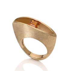 """Sarah Herriot on Instagram: """"Textured herring ring in 18ct gold, one-off tension set with orange sapphire"""""""