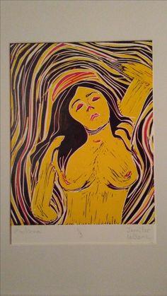 'La Madonna' Lino Print (1/3). Made by Jennifer LeBlanc at Lakehead University(2009-2010).