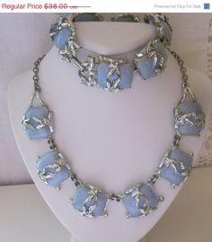 Vintage Retro Moonglow Thermoset Necklace & Bracelet  Pale blue moonglow stones with a silver leaf overlay  Link style necklace is 18 long with
