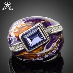 Royal Design Platinum Plated Stellux Austrian Crystal Multicolour Oil Painting Pattern Ring TR0092