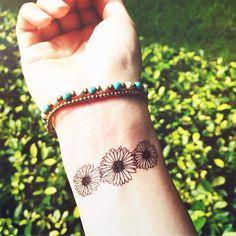 3pcs Daisy Floral tattoo - InknArt Temporary Tattoo - wrist quote tattoo body sticker fake tattoo wedding tattoo small tattoo