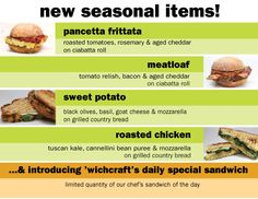 new seasonal menu at 'wichcraft! Ciabatta Roll, Country Bread, Tomato Relish, Roasted Tomatoes, Roasted Chicken, Frittata, Goat Cheese, Meatloaf