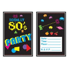 Awesome 80s Party Postcard Invitations