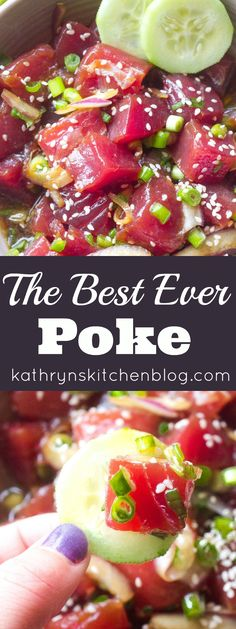 This Best Ever Tuna Poke recipe is so easy to make at home! It's light, fresh, healthy and delicious! Loaded with the freshest tuna and all the flavors you dream of in poke! The Best Ever Tuna Poke - The Best Homemade Tuna Poke - Fresh Tuna Recipes, Fish Recipes, Seafood Recipes, Cooking Recipes, Healthy Recipes, Healthy Drinks, Drink Recipes, Seared Ahi Tuna Recipe, Foods