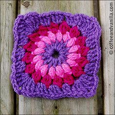 Flowery Granny Square - Crochet Pattern » Coffee and Vanilla..very nice:)