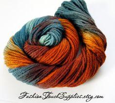 Otoño hilado pintadas en tonos turquesa naranja y marrón