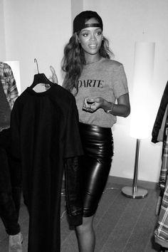 Rihanna | Leather Pencil, Rodarte Grey T'shirt and Backward Cap