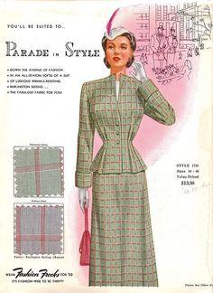 "1950?  Fashion Frocks Salesman's Sample Card  Fabric is ""Burlington Suiting"" (Rayon)"