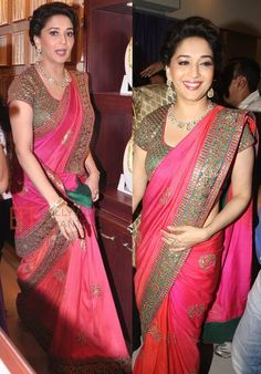 Bollywood Style Madhuri Dixit Chiffon Georgette Saree In Pink Colour Chiffon Saree, Saree Dress, Silk Sarees, Lehenga Choli, Saris, Red Saree, Silk Saree Blouse Designs, Saree Blouse Patterns, Bollywood Saree