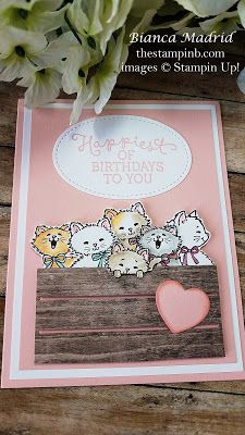 Cute Kitties Birthday Card using Pretty Kitty Stamp Set from Stampin Up, from Th… – Birthday Birthday Card Pictures, Kids Birthday Cards, Card Birthday, Pretty Cats, Pretty Kitty, Beautiful Cats, Dog Cards, Kids Cards, Ballon Party