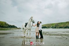 15 year old Zephyr joins Ashleigh Baxter-Loubser at her wedding to Dane Loubser on the beach in County Waterford. Photo courtesy of Ross Costigan Professional Photographer, Year Old, Horses, Beach, Pictures, Wedding, Animals, Photos, Valentines Day Weddings