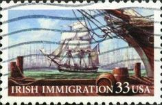 USA postage stamp depicting Irish immigration in sailing ships.