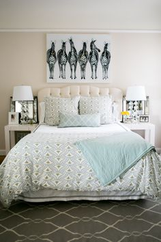 #zebra, #artwork, #bedroom, #bedding  Photography: Monica Wang - www.monicawangphotography.com  Read More: http://www.stylemepretty.com/living/2014/07/07/behind-the-blog-with-gal-meets-glam/