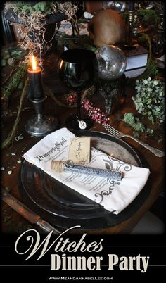 Witches Dinner Party   Elegant Gothic Halloween Table Decor   Candlelit Dinner   Dark & Moody Ambience  Crystal Balls   Apothecary Jars   Spell Napkins   Rune Stone Wine Charms   Antique Candle Holders   Skull Centerpiece   Black Candles   Enchanted Forest   Goth Home Décor   Samhain Feast Menu   www.MeandAnnabelLee.com